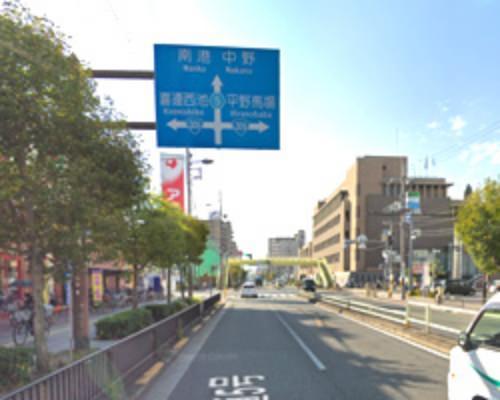 平野区役所前と平野西交番前の交差点